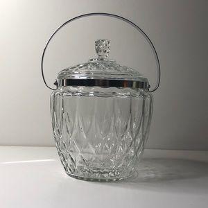 Vintage Beautiful glass/Crystal ice bucket w lid